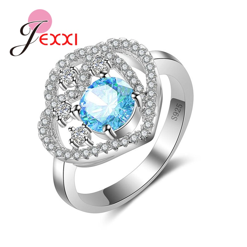 JEXXI New Arrival Noble Sarking Women Ring Pure 925 Sterling Silver Jewelry Heart Shape Monthers Day Best Gifts for Love