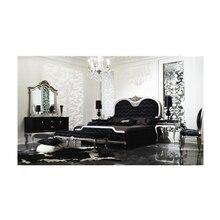 Роскошные наборы мебели для гостиной деревянная рама античный дизайн французский стиль двойной кожаный диван