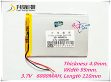 1PCS/Lot 3.7 V high capacity polymer lithium battery, 4095110, 6000 mah sun N70 7 inch tablet battery