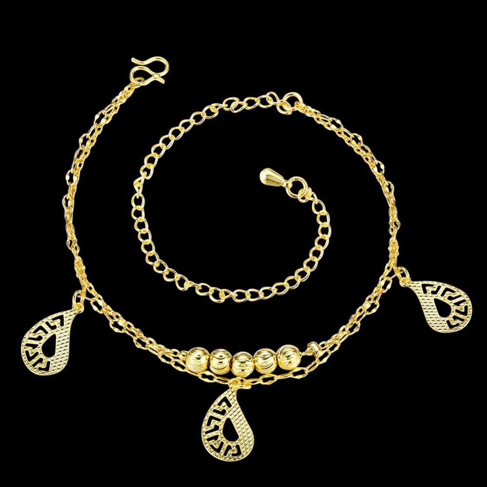 Best Quality Double Layer Hollow Anklets Bracelet Foot Chain Gold