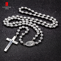 316 Stainless Steel Silver Color Religious Rosary Necklace Vrigin Mary Rosary Necklace With High Quality Cross