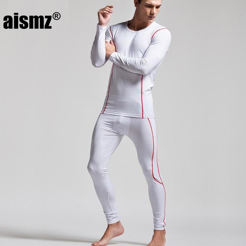 Aismz Winter Warm Thermal Underwear Sexy Men Long John Set Tight Sleepwear Pajamas Sets Pijama Masculino Super Body High Quality
