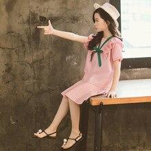 f4a45f00cfa885 Kinder Mädchen Sommer Kleid Baumwolle Rüschen Prinzessin Kinder Kleider Für  Mädchen Teenager Schule Kostüm 7 10