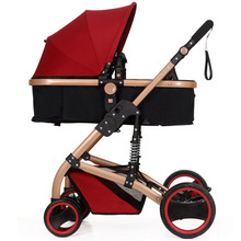 Summer baby stroller folding two-way shock absorbers four wheel baby stroller baby car light