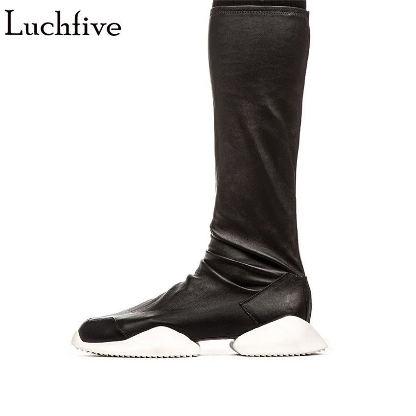 Luchfive autumn winter stretch mid calf boots for women thick bottom platform flat heel shoes runway style botas long boots double buckle cross straps mid calf boots