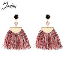 Joolim Blue Red Fabric Tassel Earring Drop Fringe Folk Style