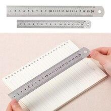 15cm 20cm 30cm Stainless Steel Metal Ruler Precision Metric Ruler Double Sided Measuring Tool Silver Color Ruler #20 panda ruler 15cm