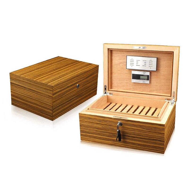 Dispositif hydratant en bois de cèdre massif cave à cigares outils pour fumer motif zèbre cigares boîte à humidité boîte à humidité sigaren doosje
