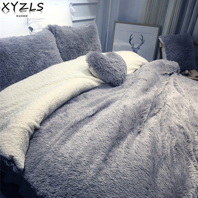 XYZLS Solid Modern Winter Queen Bedding Set Twin Full King Warm Bed Linings  Home Pink Beige