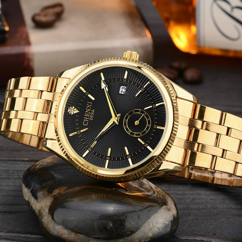 Mens Watches Top Brand Luxury CHENXI Golden Watch Business Quartz-watch Male Gold Quartz Wrist watches for Men Relogio Masculino chenxi full gold watch mens watches top brand luxury waterproof quartz watch clock steel wrist watches for men relogio masculino