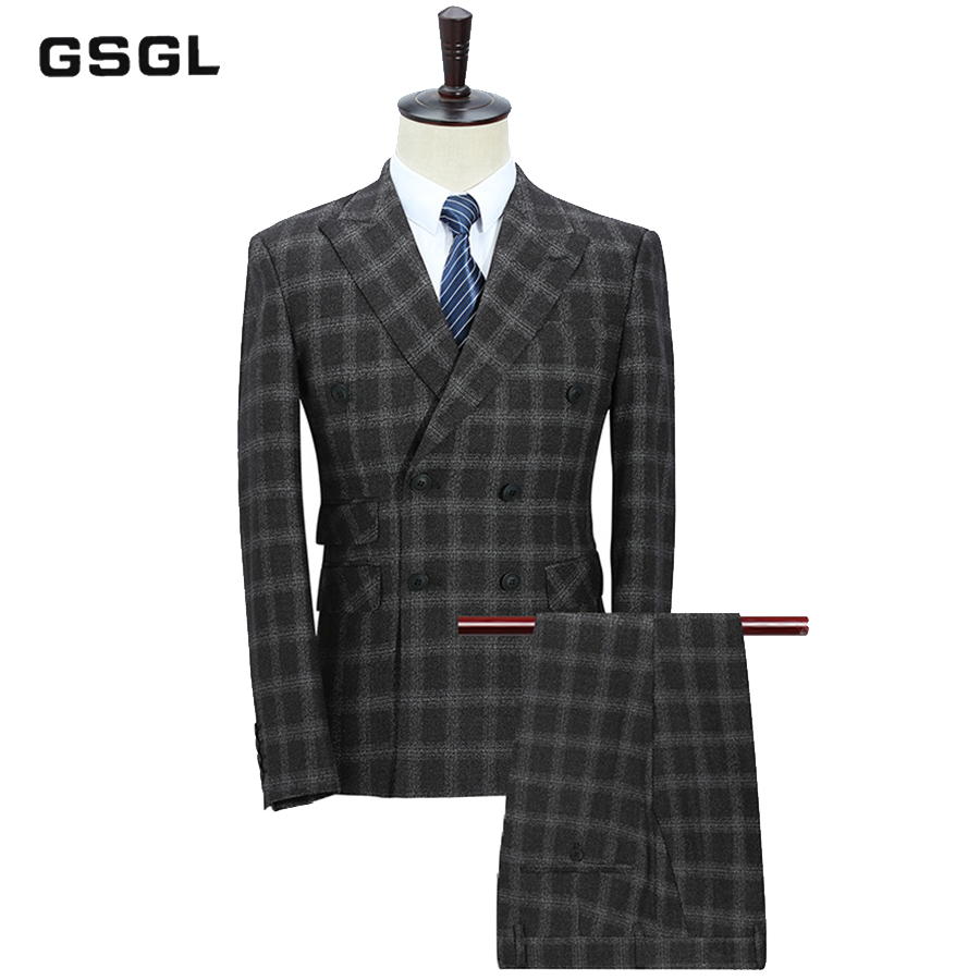 New Arrival Men Suit Double Breasted Suits 3 Pieces Black Plaid Wedding Suits For Men Retro Style Dress