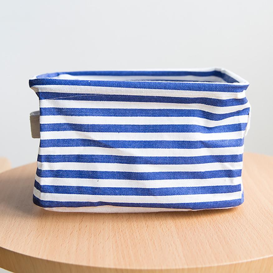 2018 Small Storage Foldable Bag Cotton Linen Debris Storage Basket Desktop Storage Collection Basket For Toys Makeup Organizer