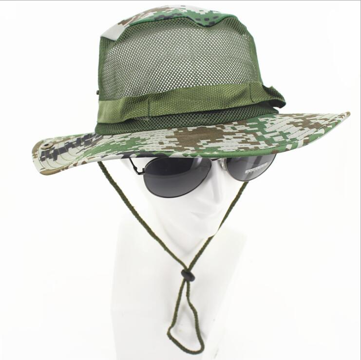 Outdoor fisherman hat mountaineering fishing camouflage Hat anni jungle round side army fan cap in Running Caps from Sports Entertainment