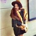 Moda Hariy Shaggy Faux Fox Fur caliente Collar largo de la bufanda otoño invierno mujeres cuello de piel sintética gorra de chal bufandas 16 colores