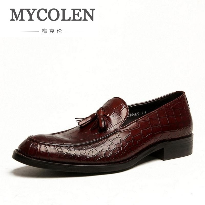 MYCOLEN Luxury Mens Genuine Leather Dress Shoes Men Fashion Tassel Design Slip On Business Office Work Shoes Wine Red Black mycolen mens casual genuine leather flats loafers for men comfortable business wine red black crocodile print man leather shoes