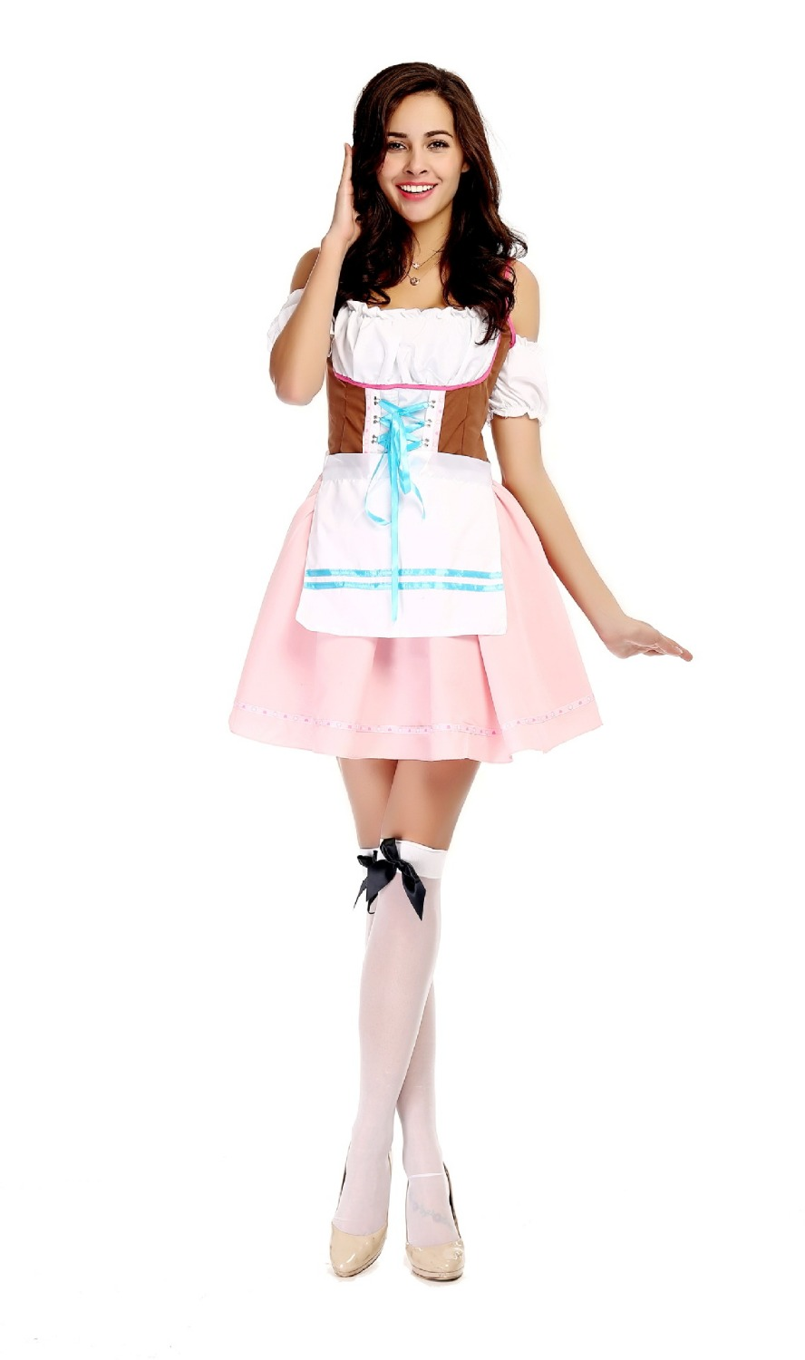 Free Shipping Halloween Womens Traditional German Bavarian Beer Girl Costume Sexy Oktoberfest Festival Carnival Party Fancy Dre