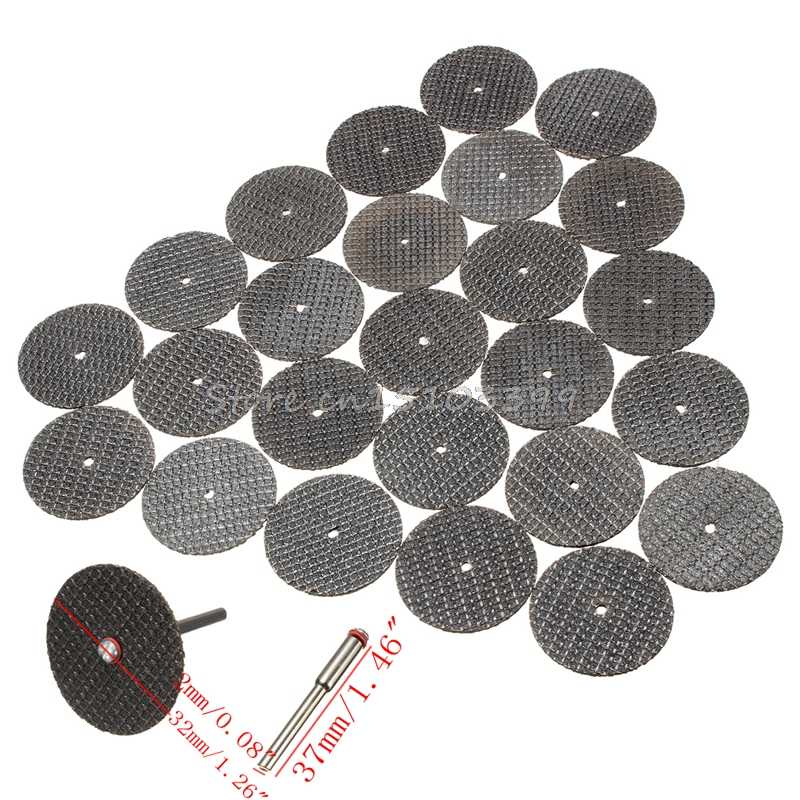 25 adet 32mm reçine kesme disk diskleri seti seti + 1 Mandrel Dremel döner aracı için G08 toptan ve dropShip