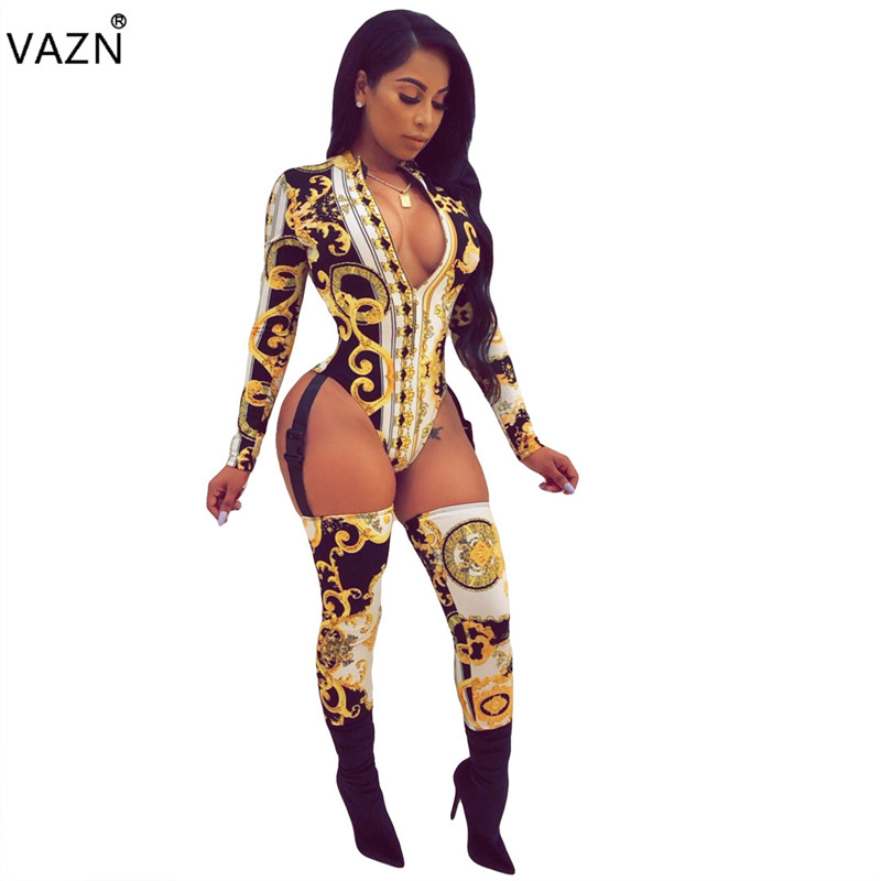 VAZN autumn 2018 sexy print long   jumpsuits   women deep v-neck full sleeve   jumpsuits   sexy hollow out bodycon   jumpsuits   OFN6156