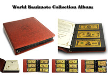 Money Banknote album 150pcs World Colored Gold Banknote in a Set PU Leather banknote holders as banknote collection(China)