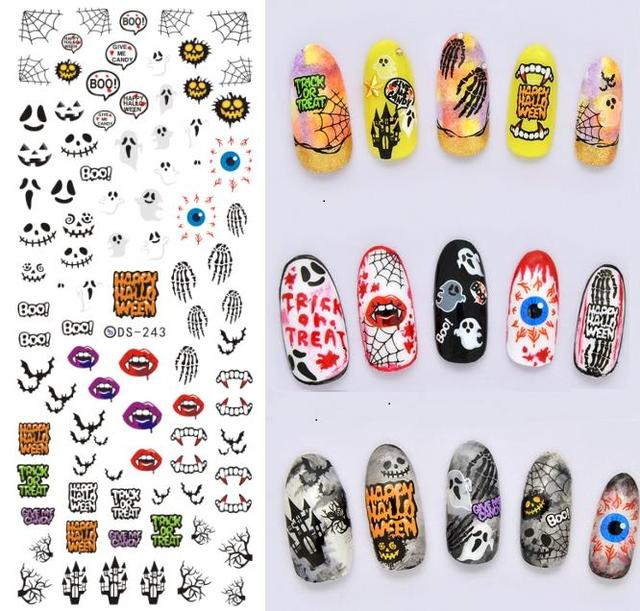 beauty products diy horrible halloween water transfer nails art sticker vampire tooth nail wraps foil sticker