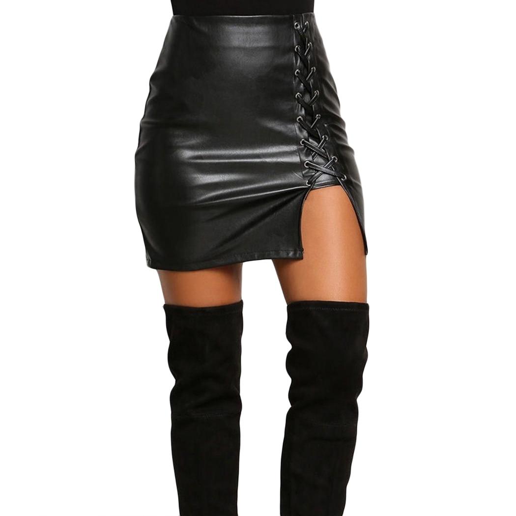 9f1c4845ded Черный Кружево на шнуровке из искусственной кожи Юбки для женщин 2017  Демисезонный женщин Сторона Разделение Юбки