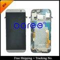Envío gratis + 100% a prueba de garantía para HTC uno M8 LCD ensamblaje de la pantalla con marco - plateado / gris / oro