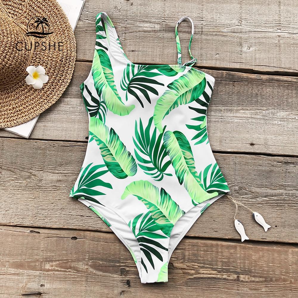 CUPSHE Green Leaves Print One-piece Swimsuit Women Irregular Sexy Bodysuits Swimwear 2018 Girl Beach Slim Bathing Suit Monokinis one shoulder leaves print ruched swimwear