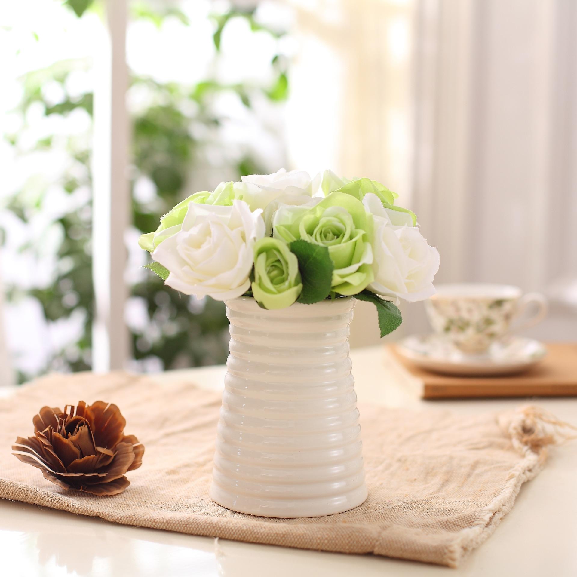 14cm bílá jednoduchá moderní keramická váza květinová řemesla vlnový vzor kreativní spirála pruhy domácí dekor bytové ozdoby