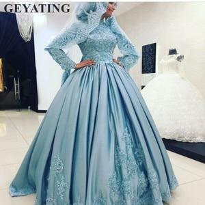 Image 3 - Luz Azul Vestido de Baile vestido de Casamento Muçulmano Árabe Dubai Kaftan Alta Long Neck Mangas de Cetim Islâmico Vestidos de Noiva Lace Apliques