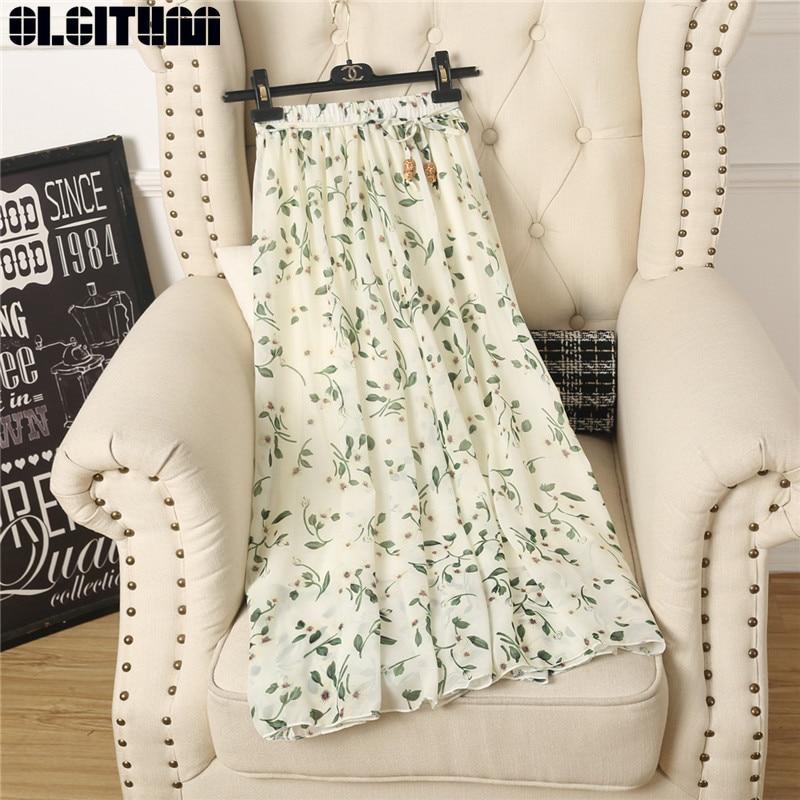 OLGITUM Long Foral Pattern Chiffon Skirt 2020 Summer New A-Line Skirts Wild Korean Casual Women Skirt SK330