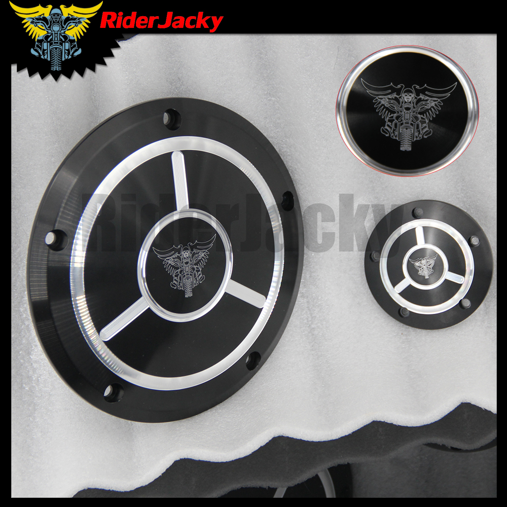 Riderjacky For Harley Dyna FLD Street Glide FLHTK FLHRS FatBoy FXSTB Motorcycle CNC Derby Timer Timing Engine Cover cnc engine cover cross derby