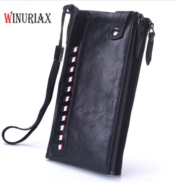 WINURIAX Genuine Leather Wallet Men Coin Purse  Male Clutch Portomonee Long Clamp for Money Walet Perse card holder pocket document for passport badge credit business card holder fashion men wallet male purse coin perse walet cuzdan vallet money bag