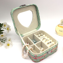 Women Makeup Carrying Leather Jewelry Box Necklace Ring Earring Storage Organizer Box Portable Travel Jewelry Case with Mirror цена и фото