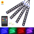 4Pcs Wireless Remote Music Voice Sound Control Car RGB LED Flash Neon Interior Light Lamp Strip Dash Floor Atmosphere Lights