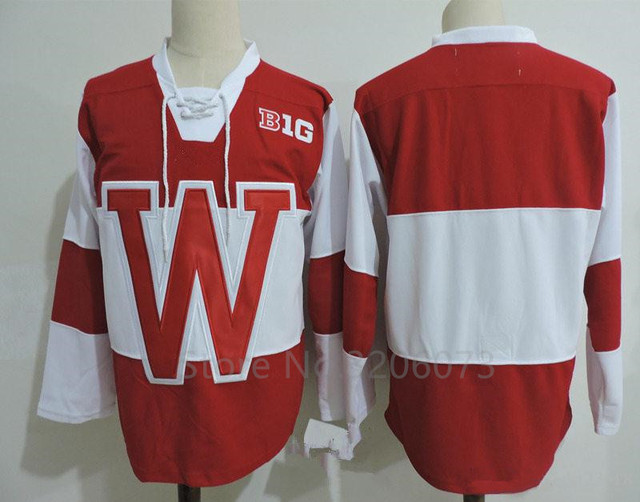 Wisconsin Badgers College Red White Ice Hockey Jersey Men s Embroidery  Stitched Customize any number and name Jerseys 617640bee77