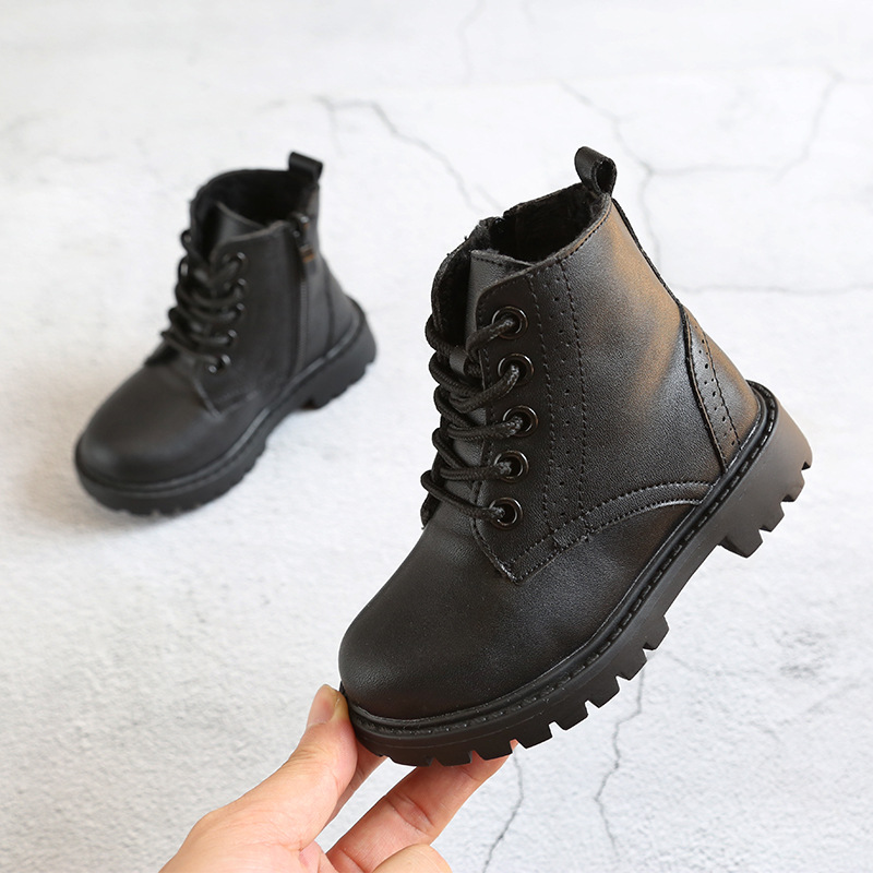 ULKNN 2018 Toddle Baby Girls Snow Boots Kids Winter Martin Boots Boys Warn Plush School Shoes Children Ankle Boot Non-Slip Shoes