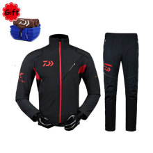цена на Winter DAIWA Fishing Clothing Men Jacket and Pants Plus Velvet Long Sleeve Waterproof Sunproof Fishing Clothes Jersey Suit