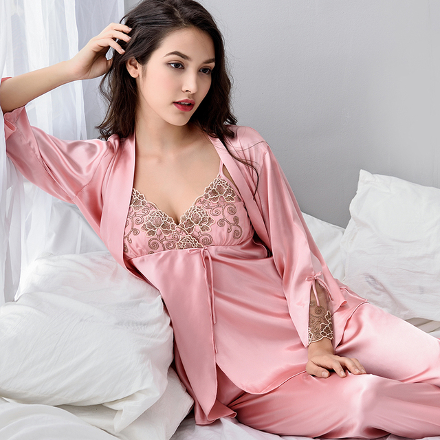 21eed037529a Xifenni Pajama Sets Female Sexy Satin Silk Sleepwear Women Long-Sleeve  Pyjamas Embroidery Faux Silk
