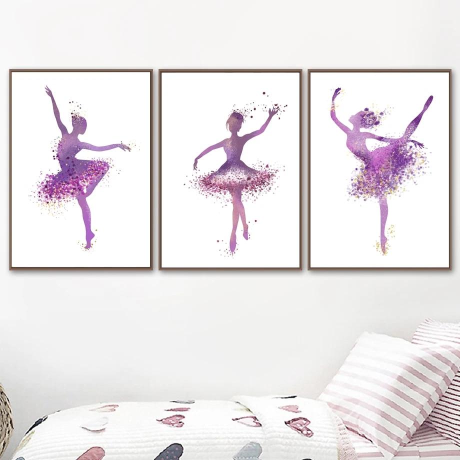 3pcs Ballet Dancer Little Girl Canvas Painting Dancing Room Wall Poster Decor