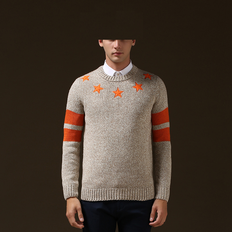 Five Pointed Star Embroidery font b Sweater b font font b Men b font Knitted Pullover