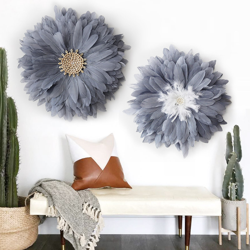 Nordic style sofa background wall painting decoration decorative feather porch cover home