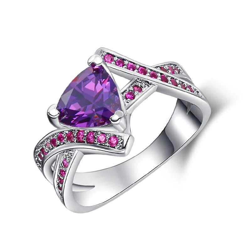 Elegant Purple CZ Crystal Ring Unique Design Vintage Party ...