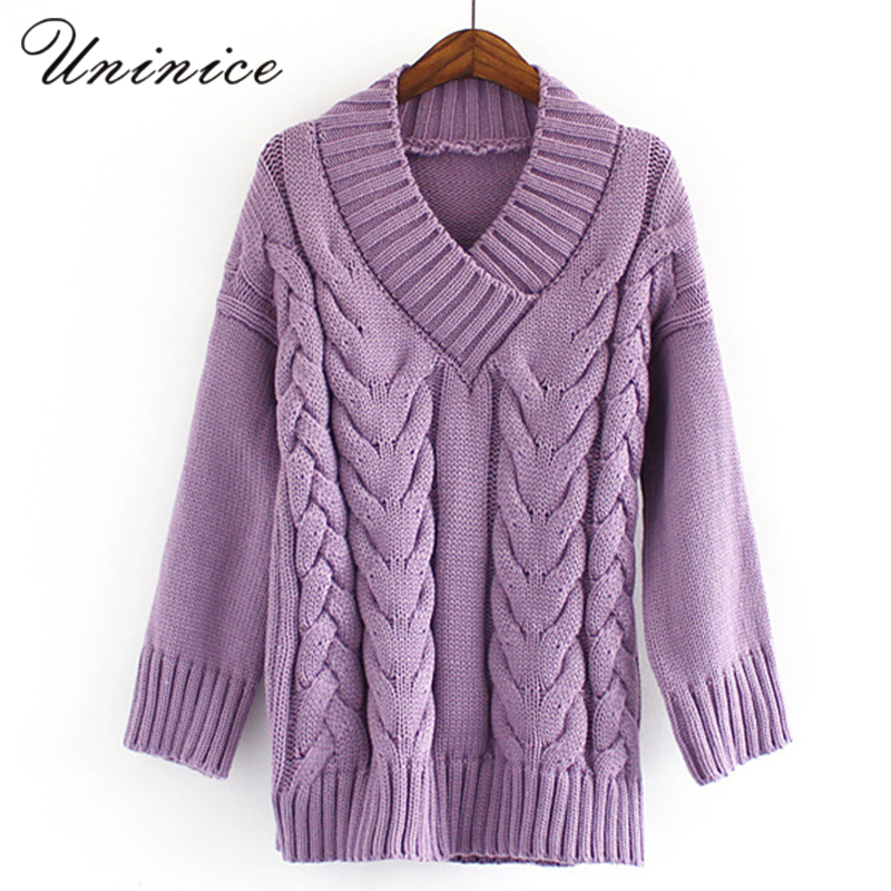 2017 Vintage Cross Sweater Women Winter & Autumn V-neck Loose Knitted Cotton Sweater Warm Special Design Pullover Sweaters