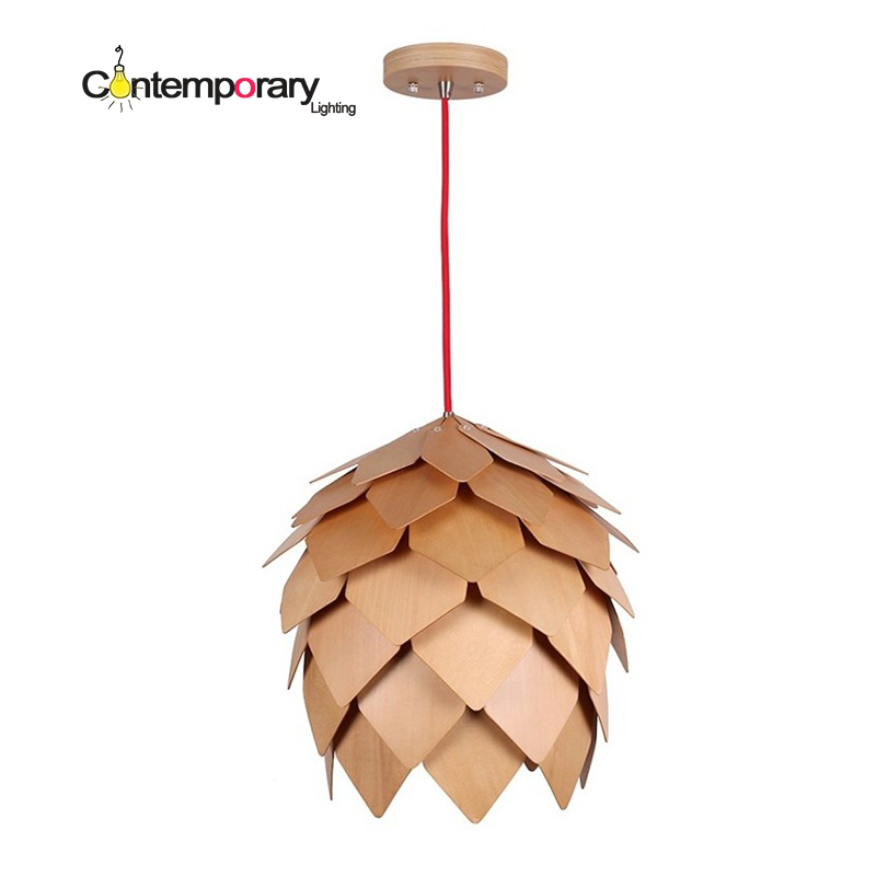 Linden wood Artichoke Retro Fixtures Luminaire wooden Danish pine cone Pinecone Pendant Lights for Dinning Room Restaurant lamp