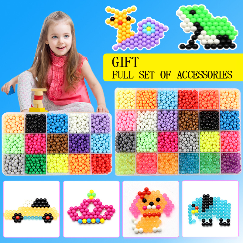 6000pcs 24 Colors Beads Puzzle Crystal Color DIY Beads Water Spray Set Ball Games 3D Handmade Magic Toys For Children