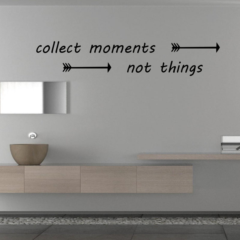 Collect moments not things wall stickers quotes arrows for Diy room decor quotes