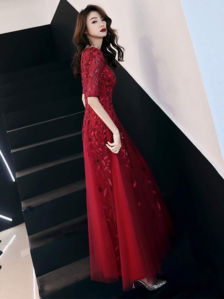 f12d3170c4719 weiyin 2019 Long Evening Dresses Robe De Soiree Sexy Luxury Wine Red Sequin  Formal Party Dress Pom Gown WY1134