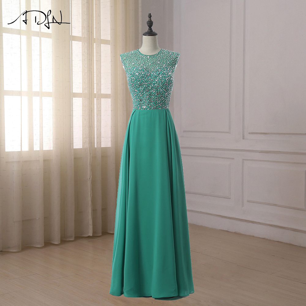 ADLN Green Evening   Dress   Sexy Cap Sleeve Heavy Beading Top Body Chiffon Evening Gowns women   Prom     Dresses
