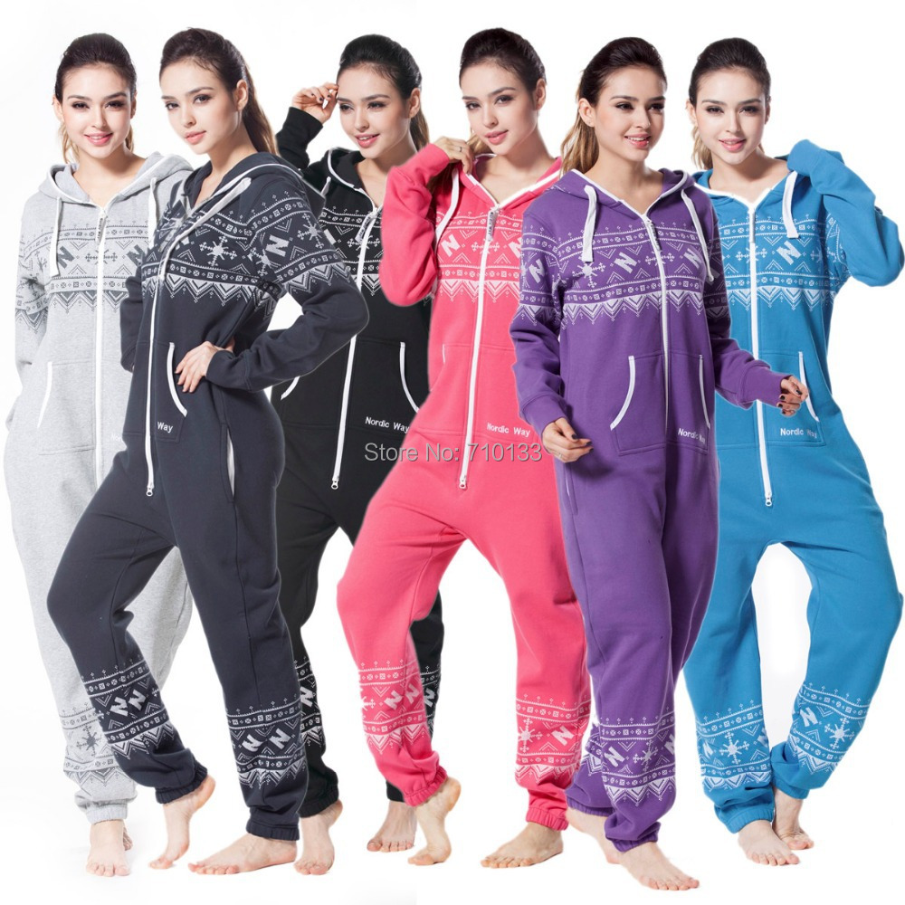 Printed One Piece Jumpsuit Nordic Snow Flake Printing Cotton Brushed Onesies Thick Fabric MaterialYKK Zip