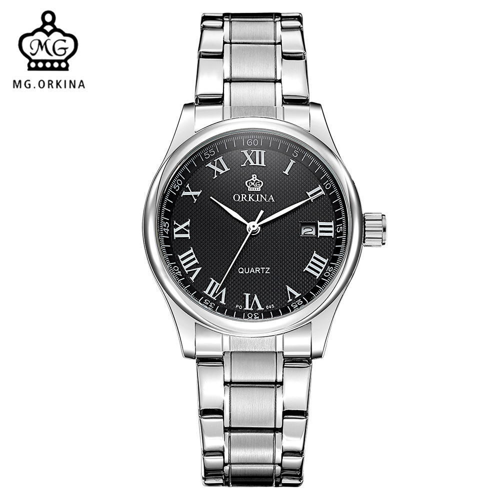 Mg orkina fashion casual men watch quartz japan movt stainless steel case auto date montre for Celebrity quartz watch japan movt